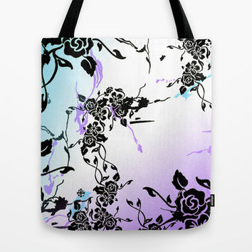 Punkoco Floral Blues Tote Bag by LOVEDART