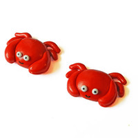 Crab Magnet - Animal Magnet - Red Magnet - Kitchen Magnet - Polymer Clay Magnet - Beach Magnet - Refridgerator Magnet - Kawaii Magnet