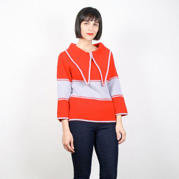 Vintage Red Gray Sweater Large Collar Jumper Pullover Nautical Sailor Bib Sweater Hippie Sweater Boho Striped Jumper S Small M Medium
