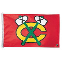 Chicago Blackhawks Red 3'x5' Flag With Tomahawk - Clark Street Sports