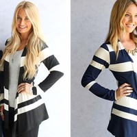 Fancy Frills Striped Cardigan!