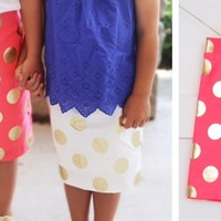 There Back!-Girl Gold Polka Dot Pencil Skirt