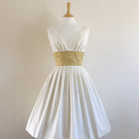 Ivory Satin and Gold Brocade Bridal Dress by by digforvictory