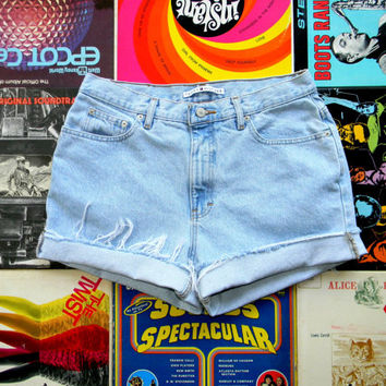 High Waisted Shorts - Vintage 90s ULTRA Light Wash Blue Jean Shorts - Frayed/Cuffed/Naturally Distressed Tommy Hilfiger Shorts Size 12 14 L