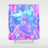 Melting Marble in Pink & Turquoise  Shower Curtain by Tangerine-Tane