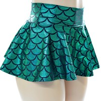 Emerald Green Mermaid Mini Rave Skirt