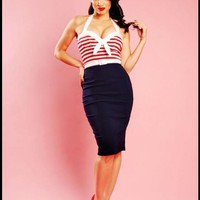 Sexy Hello Sailor Nautical Wiggle Dress with Red Stripes by Pinup Couture | Pinup Girl Clothing