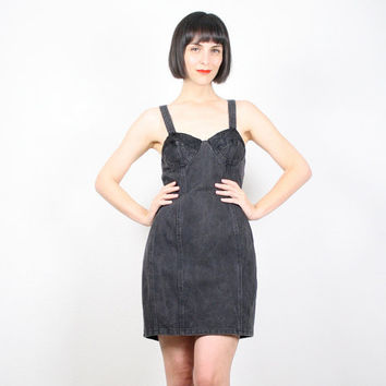 Vintage Black Denim Dress Bustier Top Dress Bra Top Dress Mini Dress Jean Dress Corset Dress 1980s 80s New Wave Punk Dress M Medium L Large