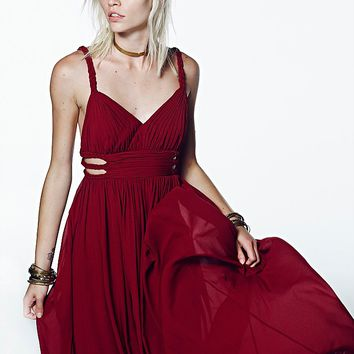Free People Womens Cassandra Maxi - Oxblood,