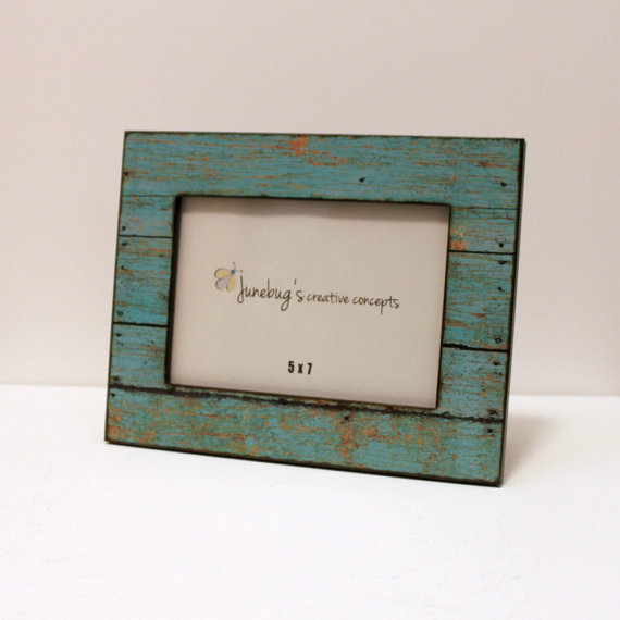 5x7 Wood Photo Frame Turquoise Chipped Paint by JunebugsCC on Etsy