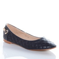 Quilted Queen Chain Strap Ballet Flats - Black