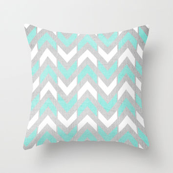 Teal & White Herringbone Chevron on Silver Wood Throw Pillow by Tangerine-Tane