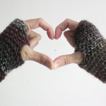 Warm Gloves, Fingerless Gloves, Wool Gloves, Crochet Gloves