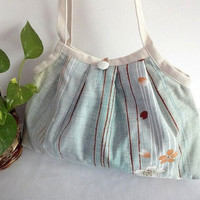 Japanese Kimono Pattern Granny bag purse light blue by MofLeema