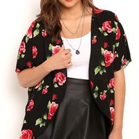 Plus Size Short Sleeve Kimono with Rose Print