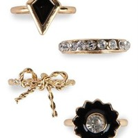 Midi Ring Set with Stone Designs