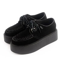 RoseG Women's Handmade Suede Lace Up Flats Platform Creepers Sneakers Shoes