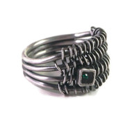 modern silver ring with green stone , handmade, sterling silver