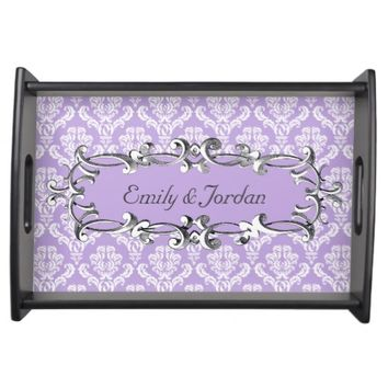 Victorian Lavender Damask Personalize Serving Tray