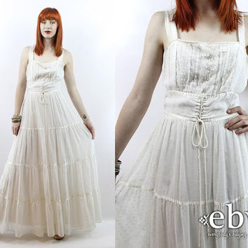 Vintage 70s White Ethereal Maxi Festival Dress S M Vintage Hippie Dress Hippy Dress Hippie Wedding Dress Hippy Wedding Dress Boho Dress