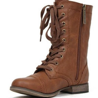 Breckelle Georgia-21 Leather Lace Up Round Toe Mid-Calf Military Combat Boot