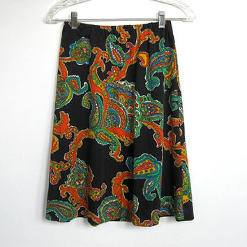 Vintage 1960 - 70s Mod / Psychedelic / Multi-colored Paisley and Floral Print Skirt