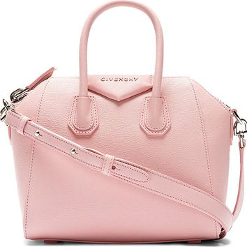 Pink Leather Antigona Sugar Mini Shoulder Bag