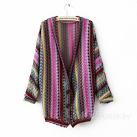 Ladies Vintage Boho Ethnic Rainbow Weave Stripe Knit Sweater Cardigan Tops Coat