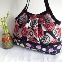 Japanese Kimono Pattern Granny bag purse roses dark by MofLeema