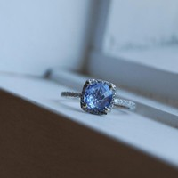 RAIN Cushion blue sapphire diamond ring by EidelPrecious on Etsy