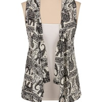 Elephant print hooded vest