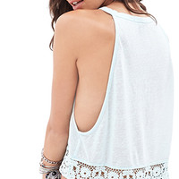 Crotchet Trim Sleeveless Top