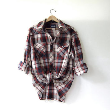 Vintage Plaid Flannel  Grunge Shirt  Thick cotton pearl
