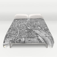 Vintage Pictorial Map of Paris (17th Century) Duvet Cover by BravuraMedia | Society6