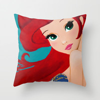 Ariel, the little mermaid Throw Pillow by Karelle Renaud