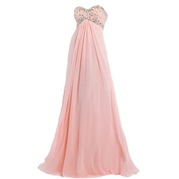 VILAVI Column Sweetheart Floor-length Chiffon Crystal Draped Graduation Dresses