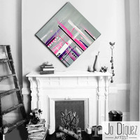 Made to order. Original abstract painting on canvas. 33 3/4x33 3/4. Canvas art with gray, pink, purple. Girly painting. Big painting.