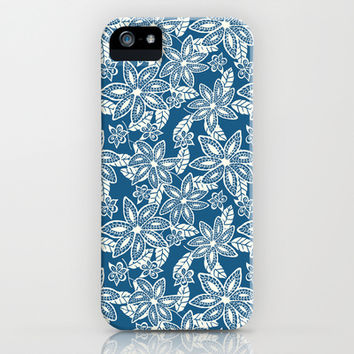 Navy Floral Pattern iPhone & iPod Case by NisseDesigns