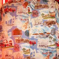 REYN SPOONER Vintage Hawaiian Shirt Fire Dept LIGHT Blue Size L! MADE IN USA