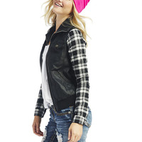 Plaid Sleeve Bomber Jacket | Wet Seal