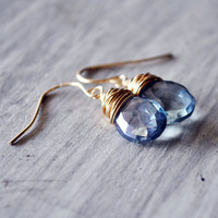 Denim Blue Earrings Quartz 14kt Gold Fill Gemstones by starletta
