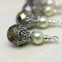 Smokey Gray AB Multifaceted Rondelle Crystal and White Pearl Bead Dangle Charm Drop Set