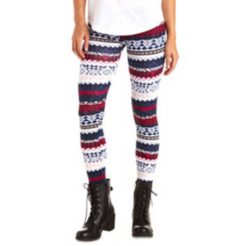 COTTON GEO-TRIBAL PRINTED LEGGINGS