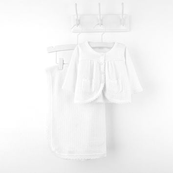 """Elegant Baby"" Pointelle Sweater Knit Blanket by Le Top"