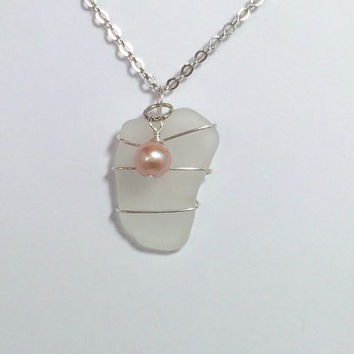 Sea Glass Necklace Ocean Jewelry Beach Jewelry Glass Pearl Friendship Gift Idea