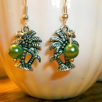 Palm Tree Earrings With Green Peridot Beads Your Earrings August Birthday Gift  Beach Jewelry