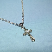 Cross Necklace Rhinestone Necklace  Friendship Gift Christian Gift Jewelry Religious Baptism Gift