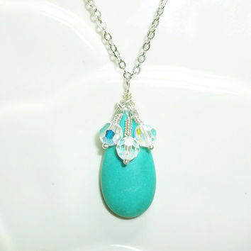 Turquoise Magnesite Necklace Bridesmaid Necklace Friendship Gift Crystal Necklace