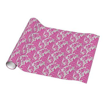 Pink & Silver Damask Wrapping Paper