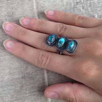 Triple Turquoise Ring // Sterling Silver size 8.5